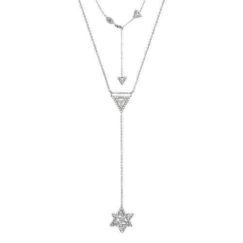 "Merkaba Diamond Platinum Drop ""Y"" Necklace"