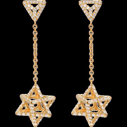 Merkaba Light Yellow Gold Drop Earrings With Diamonds