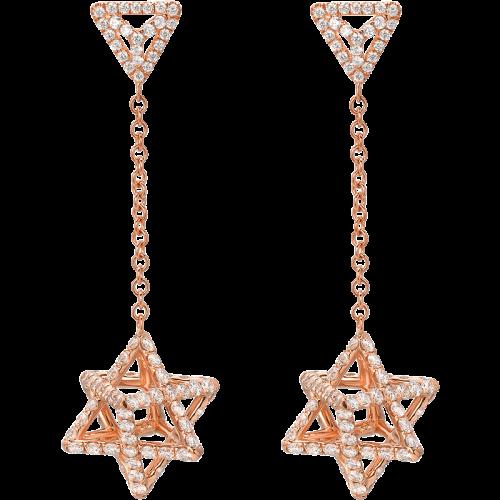 Merkaba Light Rose Gold Drop Earrings With Diamonds
