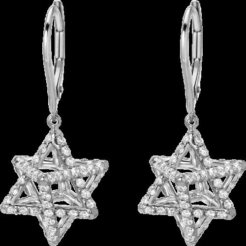 Merkaba Light Platinum Lever Back Drop Earrings With Diamonds