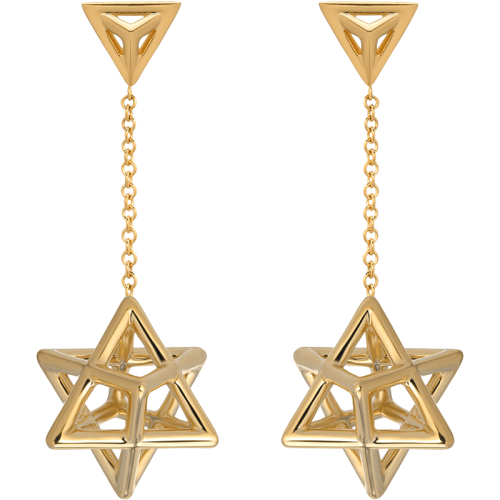 Merkaba Gold & Platinum Earrings