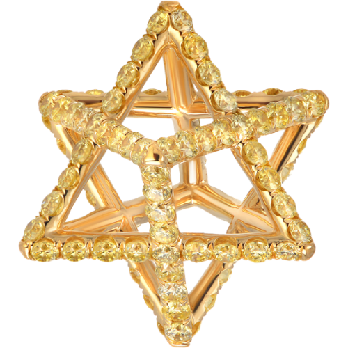 Merkaba Light Yellow Gold Pendant Necklace With Fancy Yellow Diamonds