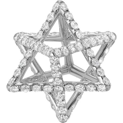 Merkaba Light Platinum Pendant Necklace With Diamonds