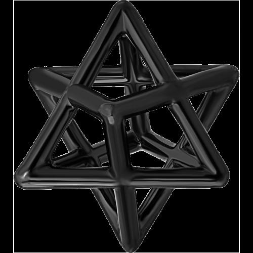 Star Of David Merkaba Body Black Platinum Pendant Necklace
