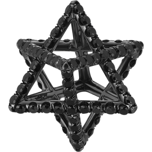 Merkaba Light Black Platinum Pendant Necklace With Black Diamonds