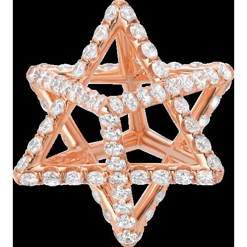 Merkaba Light Rose Gold Pendant Necklace With Diamonds